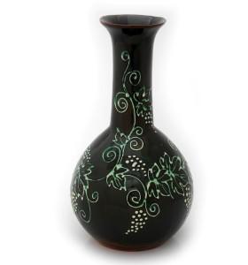 Nagy barna váza szőlő mintás