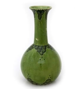 Nagy zöld váza szürke mintás