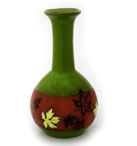 Nagy zöld váza őszi levél mintás