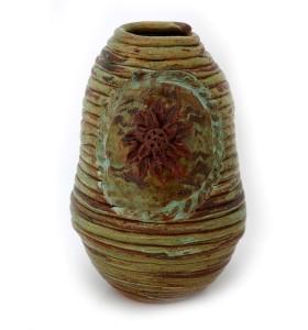 Padló váza, hurkatechnika, szürkészöld