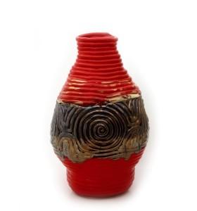 Padló váza, hurkatechnika, piros