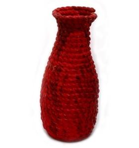Padlóváza, piros, egyszínű, keskeny